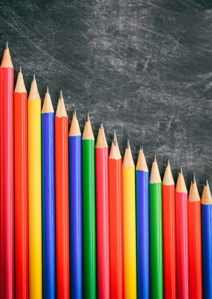 Financial literacy education is needed, row of sharpened pencils