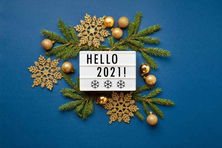 White light box with text. Christmas flatlay